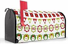 BANJADO US Mailbox/Amerikanischer Briefkasten 51x22x17cm/Letterbox Stahl schwarz/mit Motiv Weihnachtsgirlande, Briefkasten:mit schwarzem Standfuß