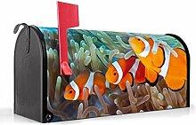 BANJADO US Mailbox/Amerikanischer Briefkasten 51x22x17cm/Letterbox Stahl schwarz/mit Motiv Clownfische, Briefkasten:ohne Standfuß