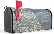 BANJADO US Mailbox/Amerikanischer Briefkasten 51x22x17cm/Letterbox Stahl schwarz/mit Motiv WT Blaues Ornament, Briefkasten:mit schwarzem Standfuß