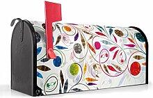 BANJADO US Mailbox/Amerikanischer Briefkasten 51x22x17cm/Letterbox Stahl schwarz/mit Motiv Wehende Blätter, Briefkasten:mit schwarzem Standfuß