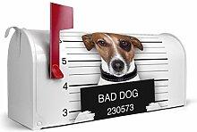 BANJADO US Mailbox/Amerikanischer Briefkasten 51x22x17cm/Letterbox Stahl weiß/mit Motiv Bad Dog Jack Russel, Briefkasten:ohne Standfuß