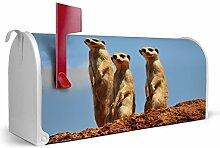 BANJADO US Mailbox/Amerikanischer Briefkasten 51x22x17cm/Letterbox Stahl weiß/mit Motiv Erdmännchenfamilie, Briefkasten:mit silbernem Standfuß