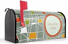 BANJADO US Mailbox/Amerikanischer Briefkasten 51x22x17cm/Letterbox Stahl schwarz/mit Motiv WT Kreuz und Quer, Briefkasten:mit silbernem Standfuß