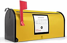 BANJADO US Mailbox/Amerikanischer Briefkasten 51x22x17cm/Letterbox Stahl schwarz/mit Motiv Briefkasten Gelb, Briefkasten:ohne Standfuß