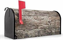 BANJADO US Mailbox/Amerikanischer Briefkasten 51x22x17cm/Letterbox Stahl schwarz/mit Motiv Wolfgang, Briefkasten:mit schwarzem Standfuß