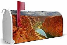 BANJADO US Mailbox/Amerikanischer Briefkasten 51x22x17cm/Letterbox Stahl weiß/mit Motiv Grand Canyon, Briefkasten:ohne Standfuß