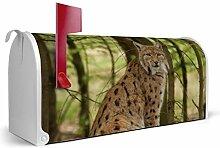 BANJADO US Mailbox/Amerikanischer Briefkasten 51x22x17cm/Letterbox Stahl weiß/mit Motiv Luchs, Briefkasten:ohne Standfuß