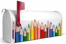 BANJADO US Mailbox/Amerikanischer Briefkasten 51x22x17cm/Letterbox Stahl weiß/mit Motiv Buntstifte, Briefkasten:ohne Standfuß