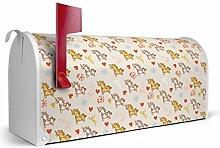 BANJADO US Mailbox/Amerikanischer Briefkasten 51x22x17cm/Letterbox Stahl weiß/mit Motiv Einhörner, Briefkasten:mit silbernem Standfuß