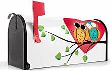 BANJADO US Mailbox/Amerikanischer Briefkasten 51x22x17cm/Letterbox Stahl schwarz/mit Motiv Big Love, Briefkasten:ohne Standfuß