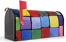 BANJADO US Mailbox/Amerikanischer Briefkasten 51x22x17cm/Letterbox Stahl schwarz/mit Motiv Bunte Kreide, Briefkasten:ohne Standfuß