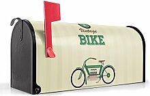 BANJADO US Mailbox/Amerikanischer Briefkasten 51x22x17cm/Letterbox Stahl schwarz/mit Motiv Vintage Bike, Briefkasten:mit silbernem Standfuß