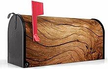 BANJADO US Mailbox/Amerikanischer Briefkasten 51x22x17cm/Letterbox Stahl schwarz/mit Motiv Trockenes Holz, Briefkasten:mit schwarzem Standfuß