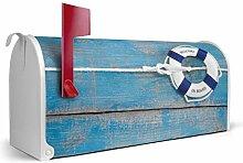 BANJADO US Mailbox/Amerikanischer Briefkasten 51x22x17cm/Letterbox Stahl weiß/mit Motiv Rettungsring, Briefkasten:ohne Standfuß