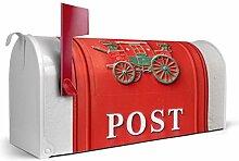 BANJADO US Mailbox/Amerikanischer Briefkasten 51x22x17cm/Letterbox Stahl weiß/mit Motiv Postkasten Nostalgie, Briefkasten:ohne Standfuß