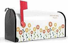 BANJADO US Mailbox/Amerikanischer Briefkasten 51x22x17cm/Letterbox Stahl schwarz/mit Motiv WT Abstrakte Margeriten, Briefkasten:ohne Standfuß