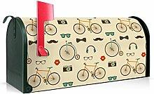 BANJADO US Mailbox/Amerikanischer Briefkasten 51x22x17cm/Stahl grün mit Motiv Hipster Se