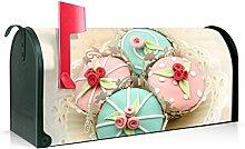 BANJADO US Mailbox/Amerikanischer Briefkasten 51x22x17cm/Stahl grün mit Motiv Cupcakes