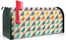 BANJADO US Mailbox/Amerikanischer Briefkasten 51x22x17cm/Stahl grün mit Motiv Love Bird
