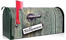 BANJADO US Mailbox/Amerikanischer Briefkasten 51x22x17cm/Stahl grün mit Motiv Willkommen