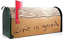 BANJADO US Mailbox/Amerikanischer Briefkasten 51x22x17cm/Stahl grün mit Motiv Life Is Good