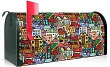 BANJADO US Mailbox/Amerikanischer Briefkasten 51x22x17cm/Stahl grün mit Motiv Funky Town