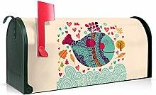BANJADO US Mailbox/Amerikanischer Briefkasten 51x22x17cm/Stahl grün mit Motiv Happy Fish