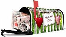 banjado - US Mailbox individualisiert 17x22x51cm schwarz Gartenzaun, Briefkasten mit schwarzem Standfuß