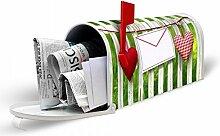 banjado - weißer Amerikanischer Briefkasten USA Mailbox 17cm x 22cm x 51cm mit Motiv Gartenzaun, Briefkasten ohne Standfuß