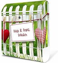 banjado - weißer Briefkasten aus Stahl mit Zeitungsfach 38x42x11cm Postkasten Motiv WT Gartenzaun, Briefkasten weiß mit weißem Standfuß