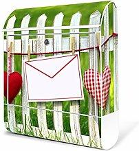 banjado - Weißer Briefkasten aus Stahl mit Zeitungsfach 38x45x11cm Postkasten Motiv Gartenzaun