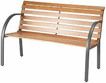 Bank Minimal Design aus Holz und Stahl Gartenbank Größe 122x 54x 73cm