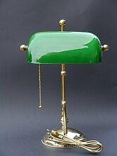 Bankerlampe aus Messing mit grünem Glasschirm