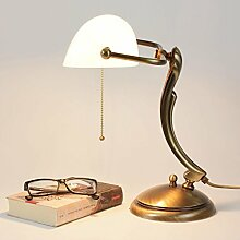 Bankerlampe Glasschirm Echt-Messing Bronziert