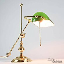 Bankerlampe Gold 24 Karat Echt-Messing Glasschirm