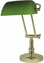 Bankerlampe Messing antik mit grünem Glasschirm,