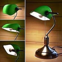 Bankerlampe mit Lampenschirm - Retro Tischlampe