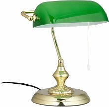 Bankerlampe mit Zugschalter, grüner Schirm,