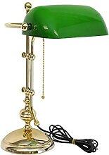 Bankerlampe Schreibtischlampe Messing mit grünem