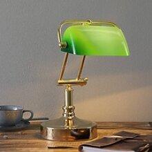 Bankerlampe Steve mit grünem Glasschirm
