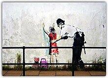 Banksy Kind Pat Down Metall Wandschild Kunst,