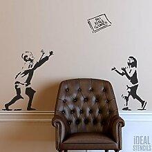 Banksy Schablone - Keine Ball Spiele wiederverwendbar Heim Dekoration & Kunst Handwerk malen Schablone - halb geschliffen Durchsichtig Schablone, M/ 37X54CM