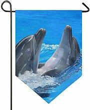 Banner Liebe Meerwasser Tier Delfine Paar Garten