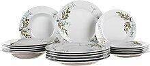 Banquet 18 Stück Porzellan Geschirr Set, Oliven Dekor, Weiß, 12 x 46 x 25.5 cm