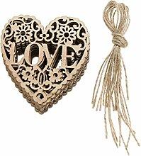 Baoblaze 10x Vintage Herz Hängedeko Dekohänger