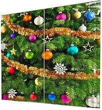 Baoblaze 2 Stücke Weihnachtsmotiv Fenster Vorhänge Rollos Gardinen Inkl. Zubehör Weihnachtsdekoration - Als Bild #1