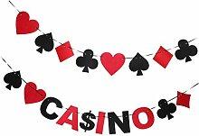 Baoblaze 2X Casino Girlande Wimpelgirlande