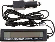 Baoblaze DC 12V Auto Voltmeter Thermometer
