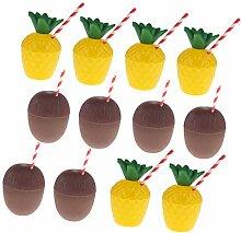 Baoblaze Hawaii Partybecher inkl. 6X Ananas