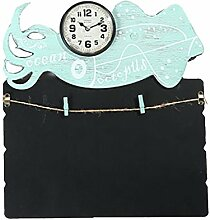 Baoblaze Memoboard mit Uhr,Wandtafel, Notizen,